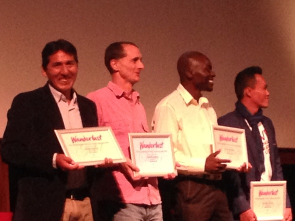 A very smiley Efrain Valles (furthest left) after being awarded the top honour