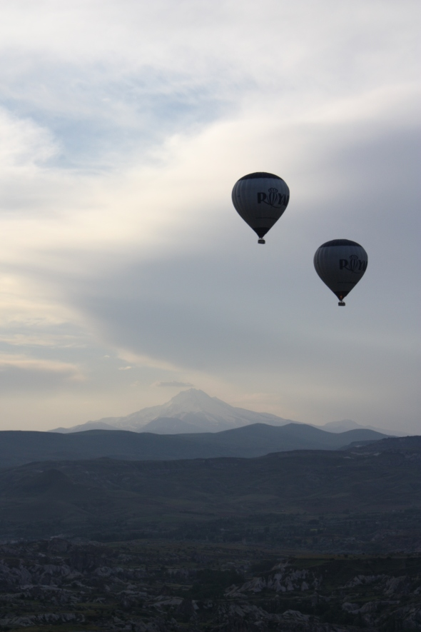 Balloons over the Cappadocian countryside