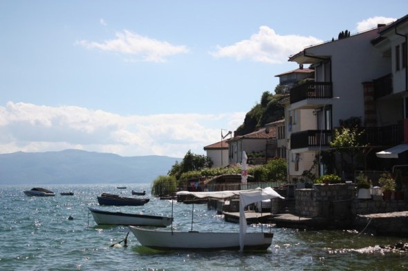 Boats tied up at Ohrid's Old Town