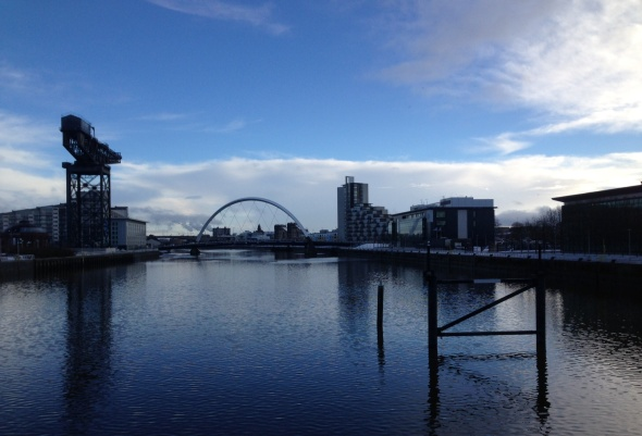 Dock crane and Clyde Arc, known locally as the Squinty Bridge