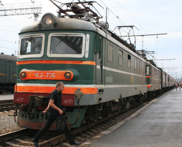 Russian train on the Trans-Siberian route
