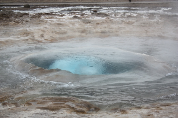 Strokkur on the verge of blowing