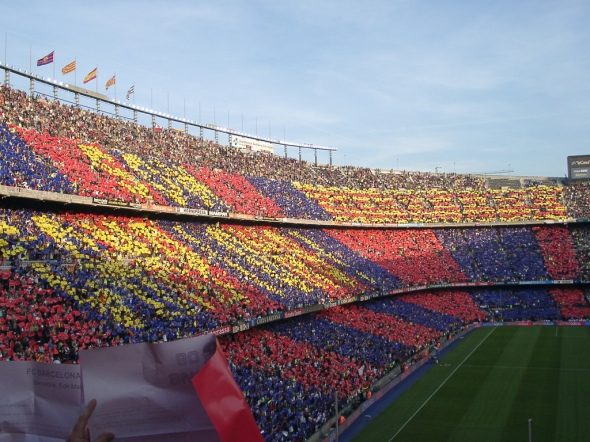Camp Nou colours by DJ Lucifer, licensed under CC BY 2.0 via Wikimedia Commons