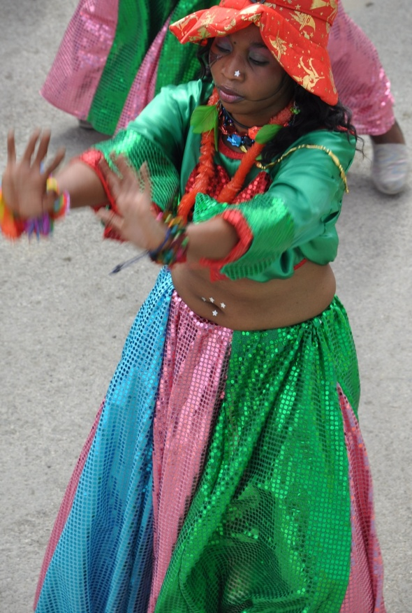 Colourful dancer getting into the groove