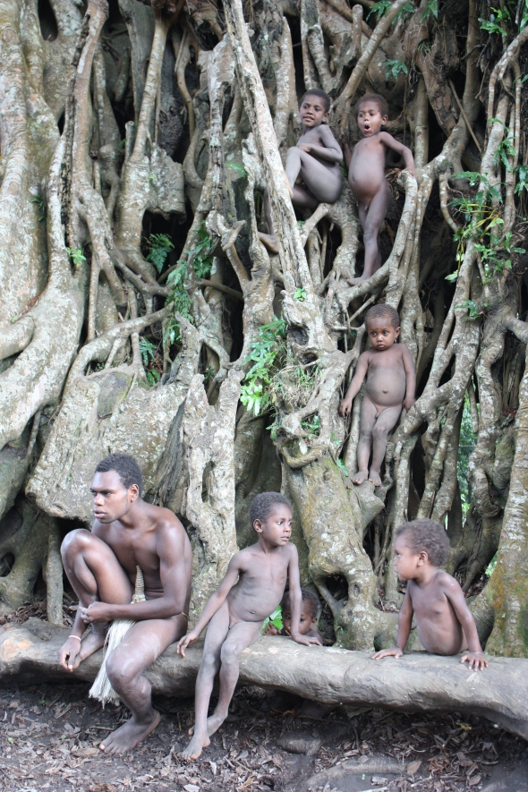 Yakel kids playing in the tree
