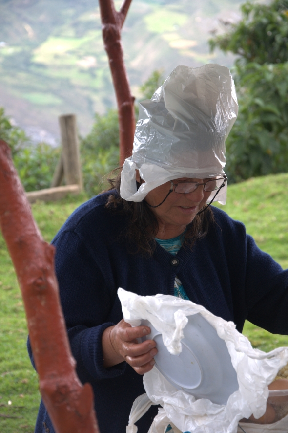 The bag hat lady at Kuelap
