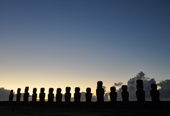 Sunrise at Tongariki, site of the greatest number of moai