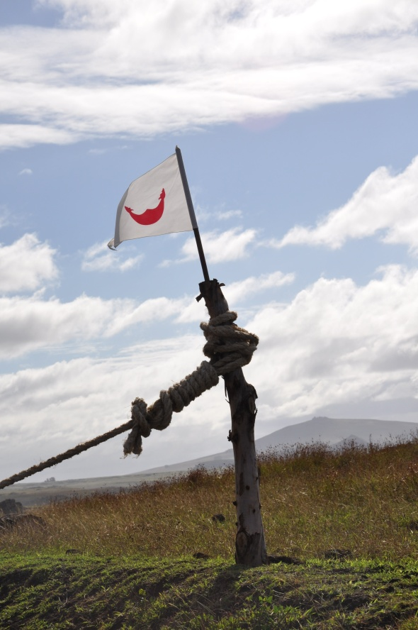 Rapa Nui flag - at present the Chilean government aren't collecting (aren't able to collect?) the National Park fee; the Rapanui people have roadblocks and are recording visitor details