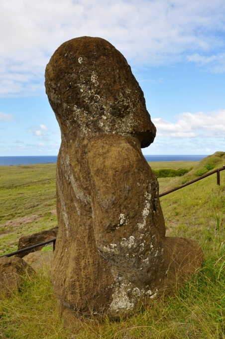 The kneeling moai at Rano Raraku