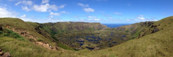 Rano Kau crater, near the main settlement of Hanga Roa