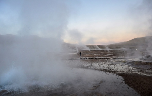 Sunrise at El Tatio geyser field