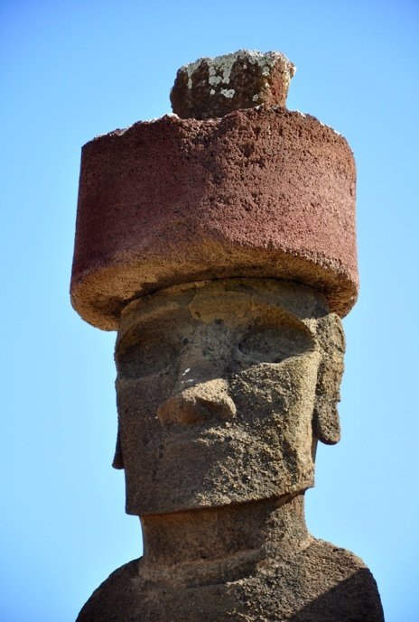 Close up shot of one of the moai at Anakena