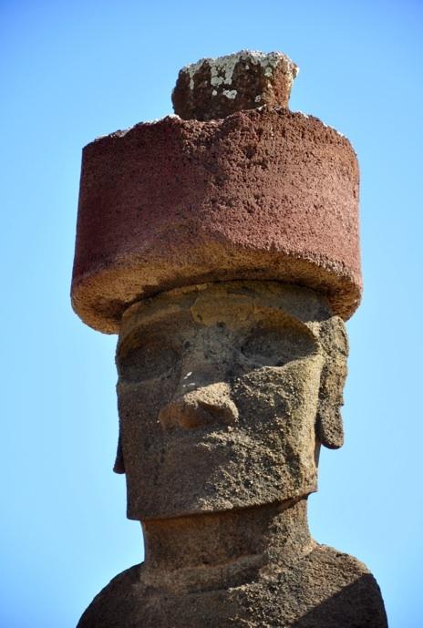 Close up shot of one of the moai at Anakena