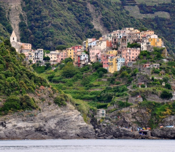 Cliff top Corniglia as seen from the boat