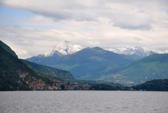 The Alps rising behind Lake Como