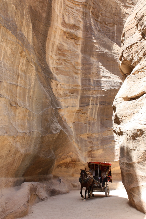 Horse and carriage exiting the Siq