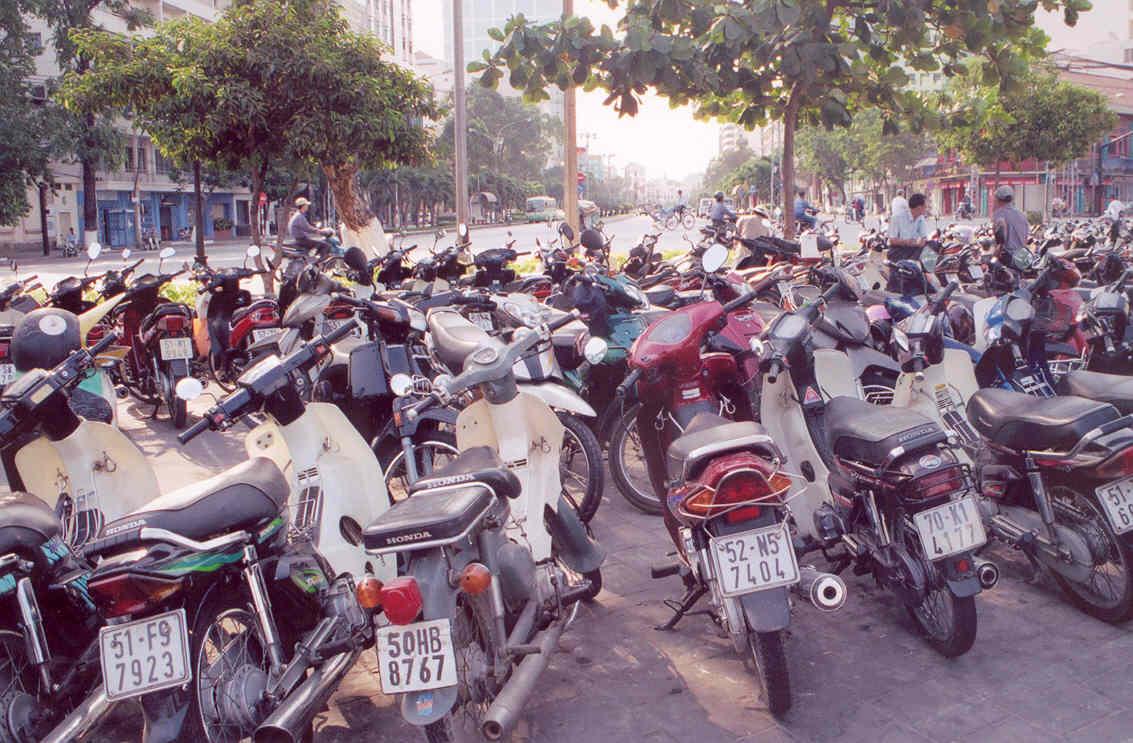 Vietnam Motorbikes parked in Saigon